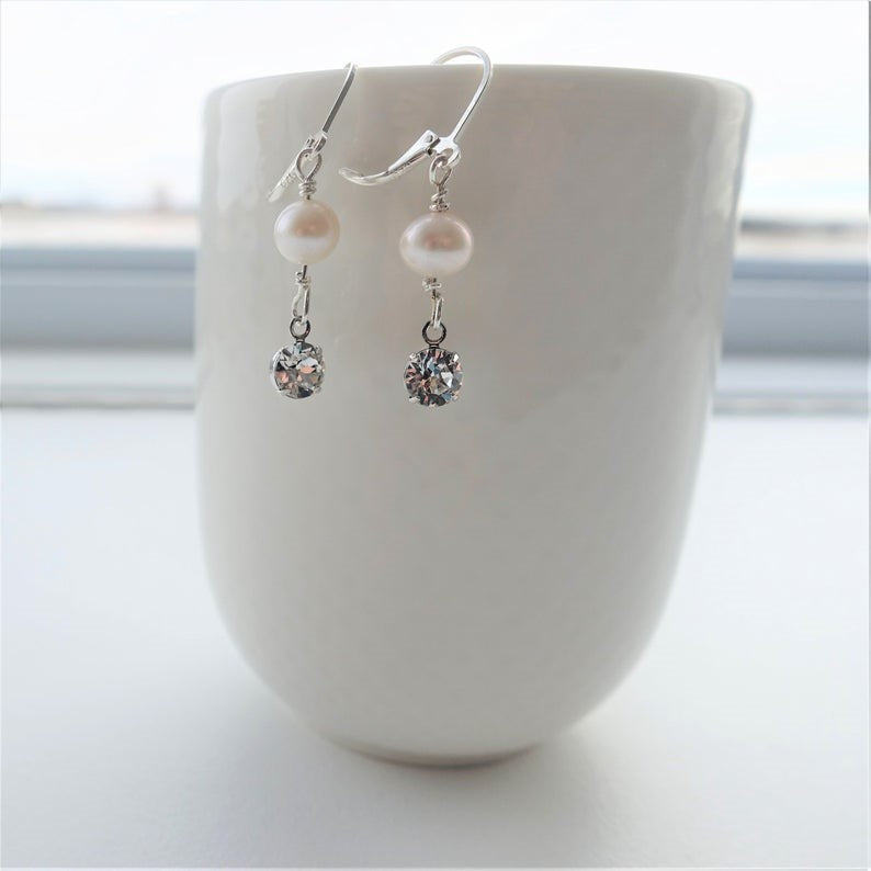 Off White Freshwater Pearl Swarovski Crystal Drop Earrings
