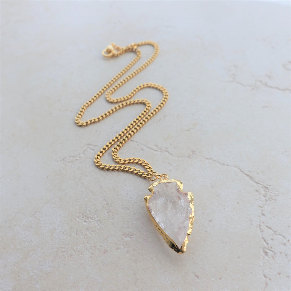 Quartz Crystal and Gold Arrowhead Chain Necklace