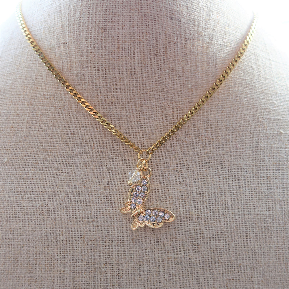 Gold Rhinestone and Crystal Butterfly Necklace