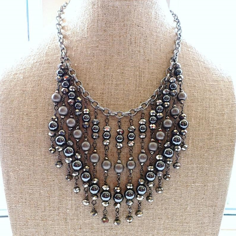 Black Hematite Goddess Beaded Bib Necklace