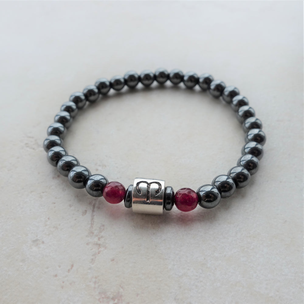 Hematite and Garnet Gemstone Aries Zodiac Beaded Bracelet