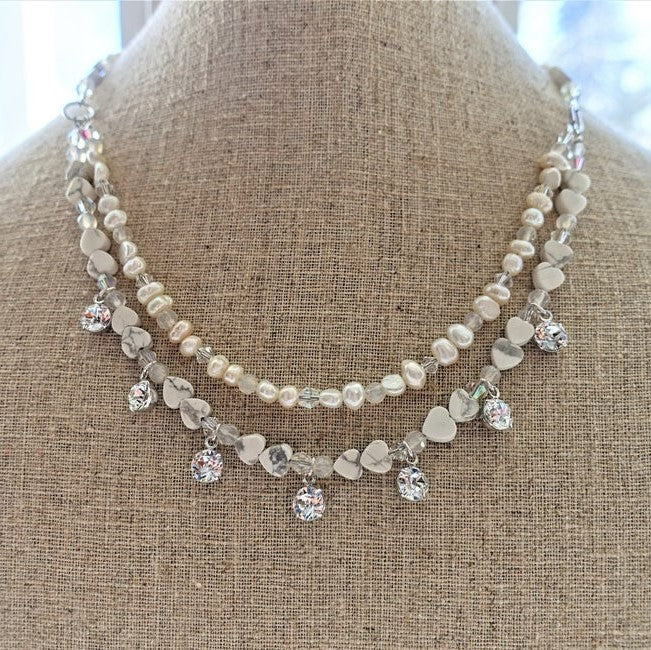 Howlite and Pearl Multi Strand Crystal Necklace