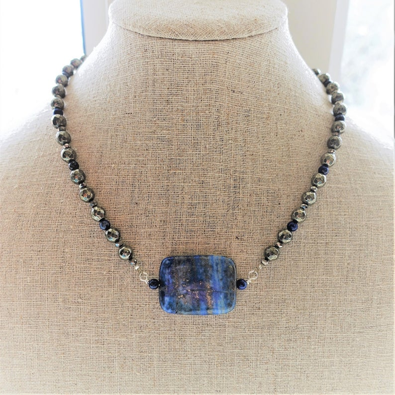 Lapis Lazuli and Pyrite Gemstone Necklace