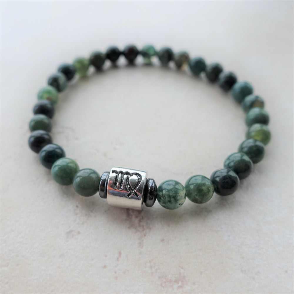 Moss Agate Gemstone Beaded Virgo Zodiac Bracelet