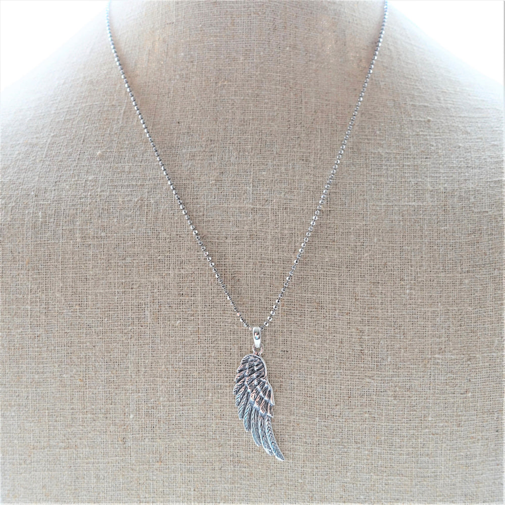 Sterling Silver Angels Wing Pendant Chain Necklace