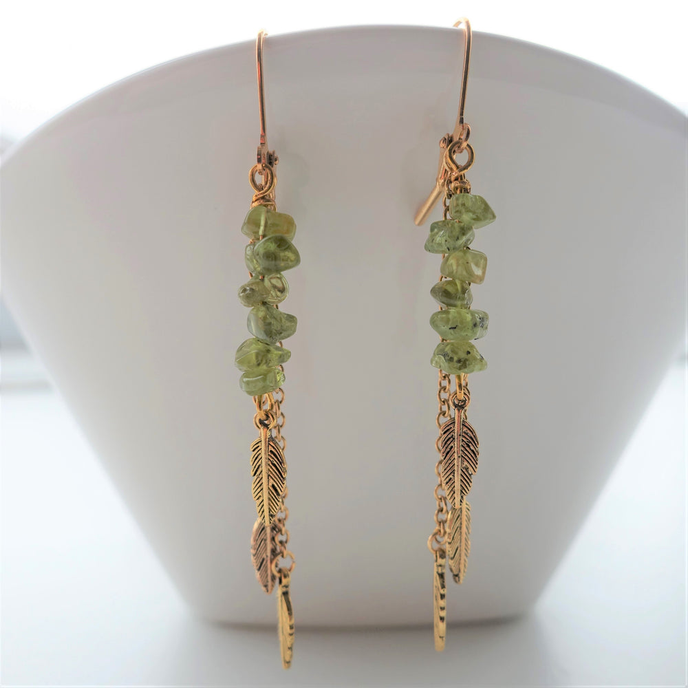 Peridot Gemstone Gold Feather Earrings