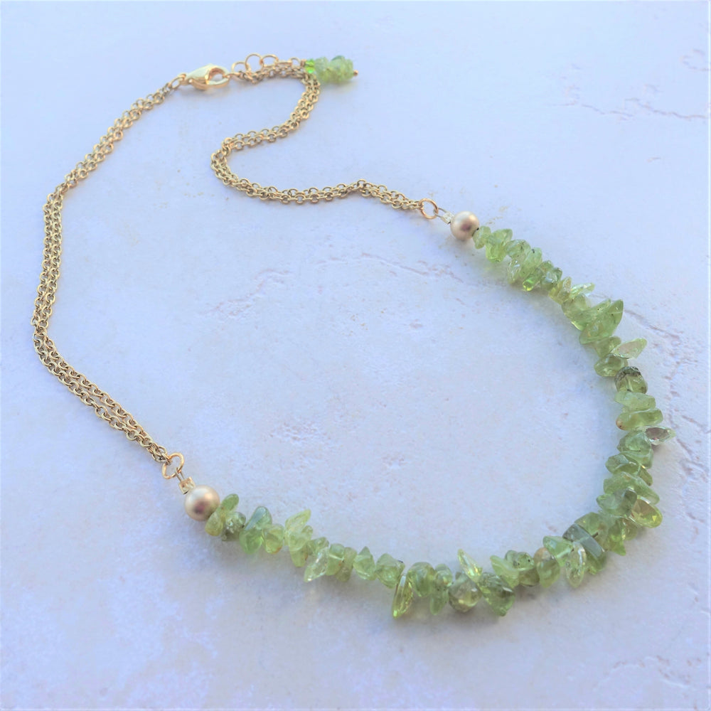 Green Peridot Gemstone Gold Plated Chain Necklace