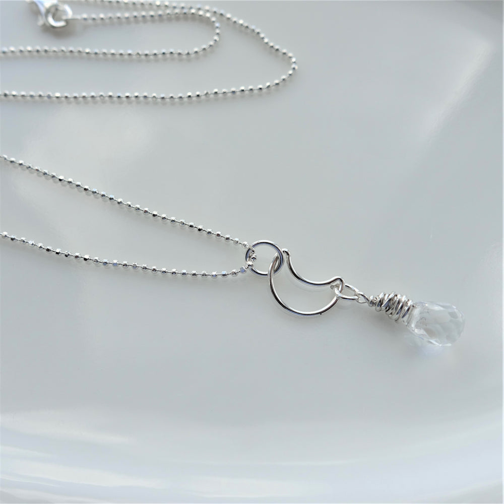 Silver New Moon Intentions Quartz Crystal Necklace