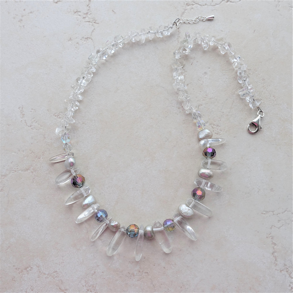 Quartz Crystal Goddess Gemstone Statement Necklace