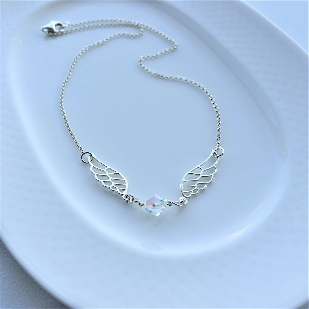 Sterling Silver Angel Wings Crystal Necklace