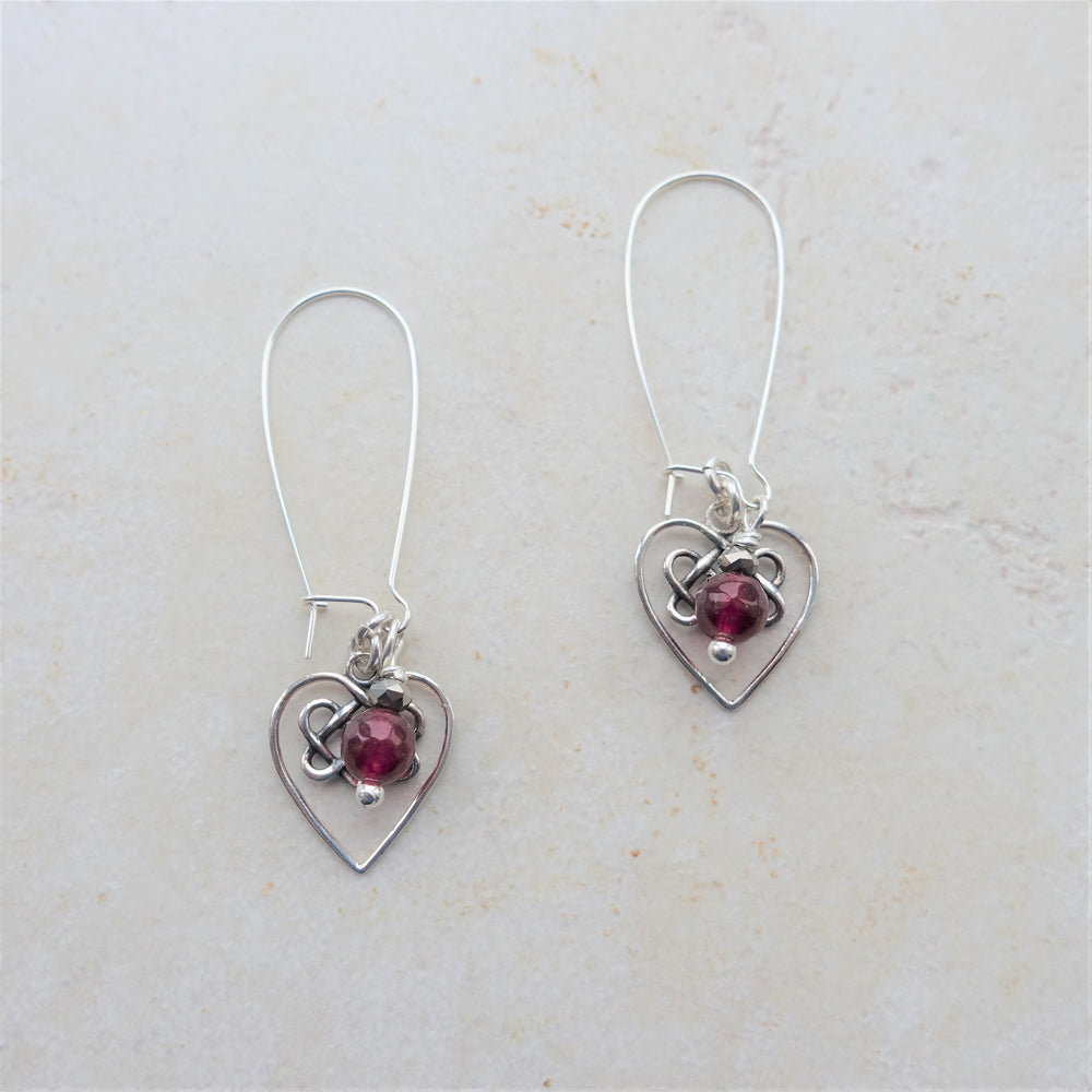 Red Garnet Silver Celtic Infinity Heart Earrings