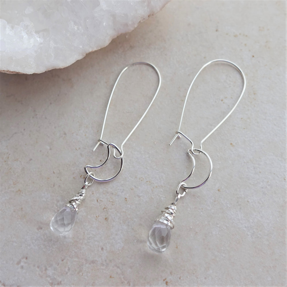 Silver Moon Quartz Crystal Manifestation Earrings
