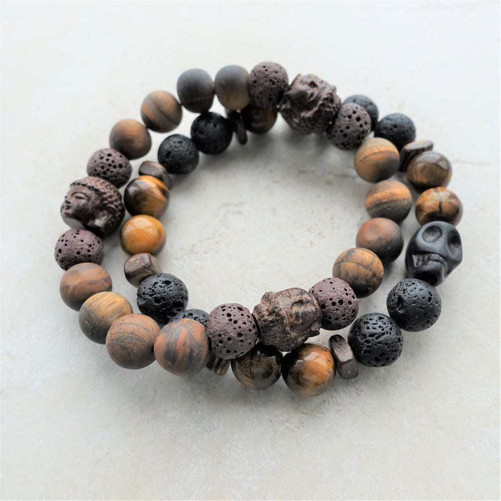 Men's Tigers Eye Black Lava Rock Skull Bracelet