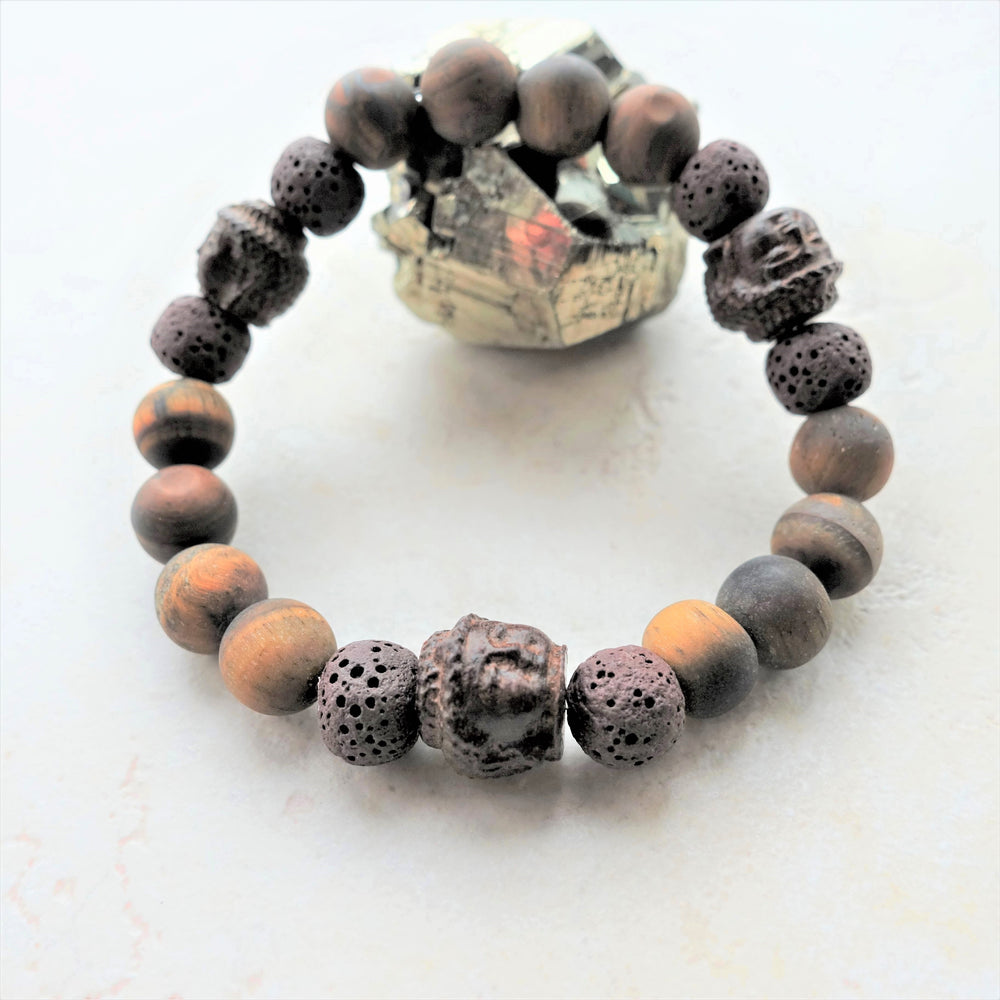 Brown Tigers Eye and Wood Buddha Unisex Bracelet