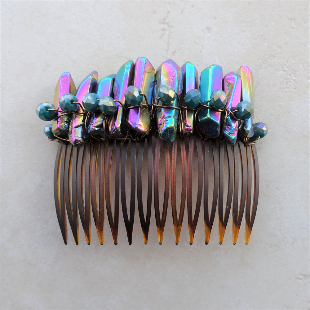 Quartz Crystal Gemstone Hair Comb Jewelry