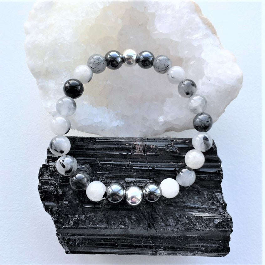 Black and White Tourmalinated Quartz Boho Bracelet