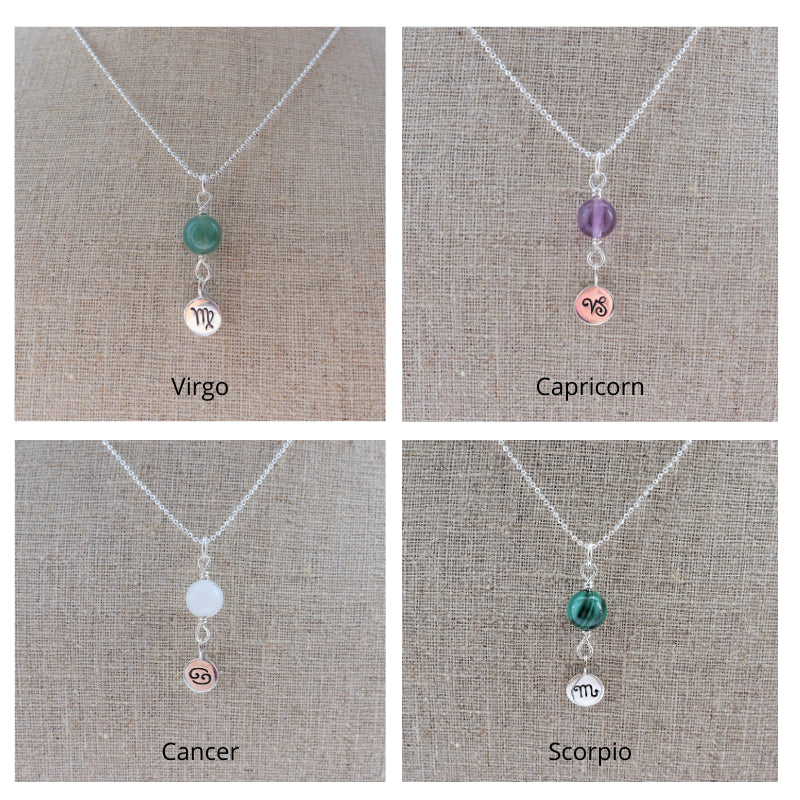 virgo capricorn cancer scorpio zodiac necklace
