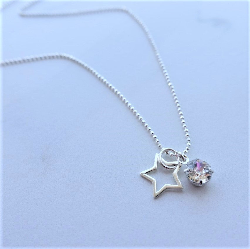 Sterling Silver Star and Swarovski Crystal Necklace