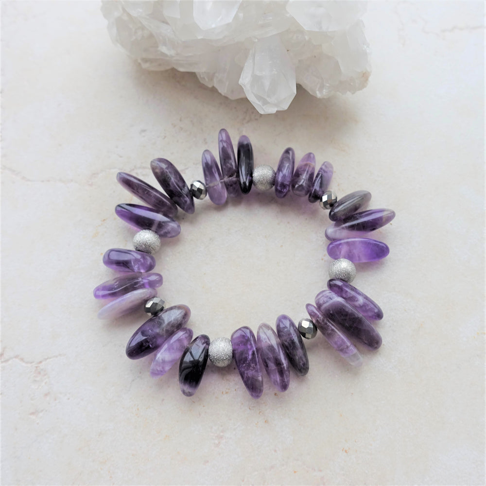 Purple Amethyst Gemstone Spike Statement Bracelet