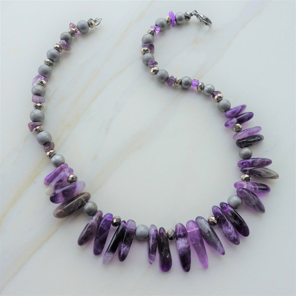 Purple Amethyst and Hematite Statement Necklace