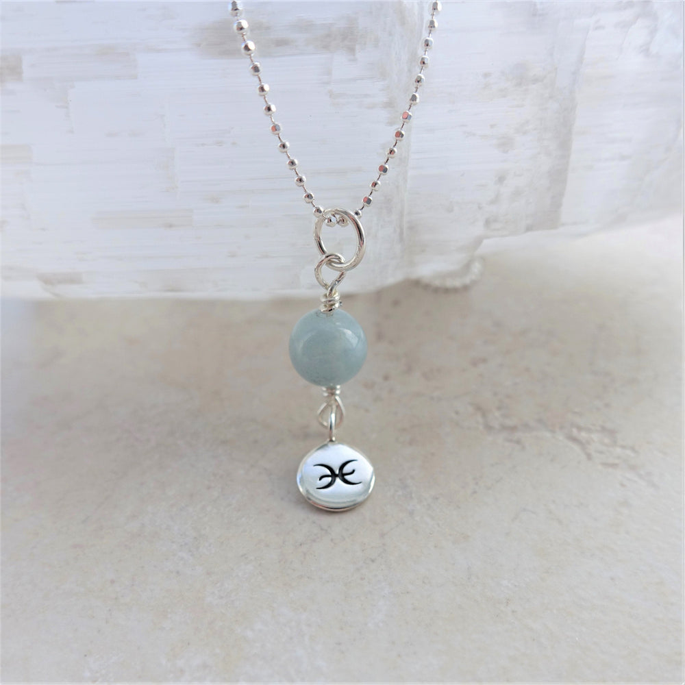 Aquamarine Sterling Silver Pisces Zodiac Necklace