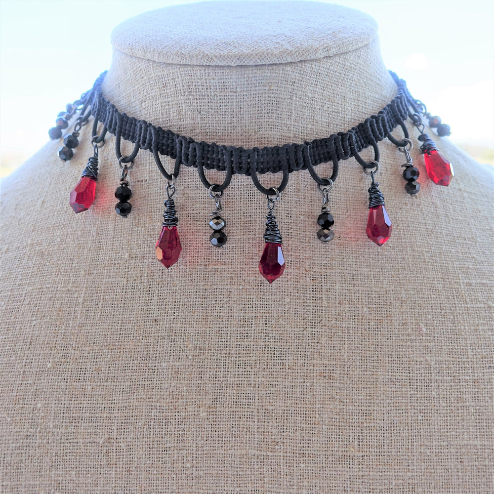 Black Lace and Red Crystal Choker Necklace Bohemian Jewelry