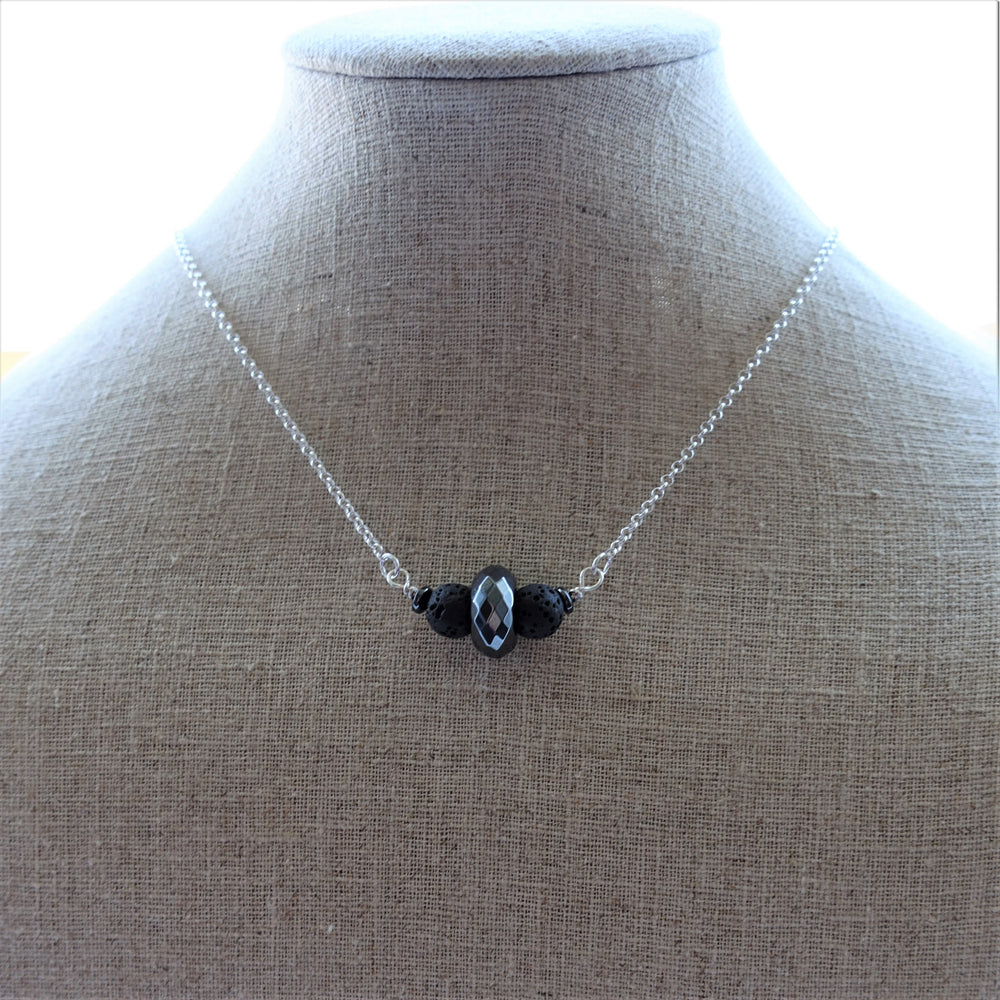 Black Lava Rock and Hematite Diffuser Necklace