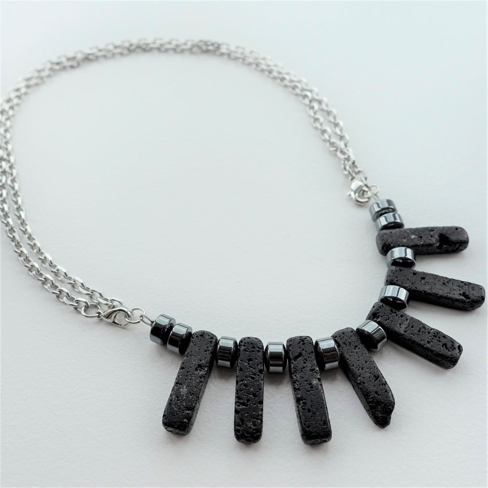 Steel Chain Lava Rock Diffuser Statement Necklace