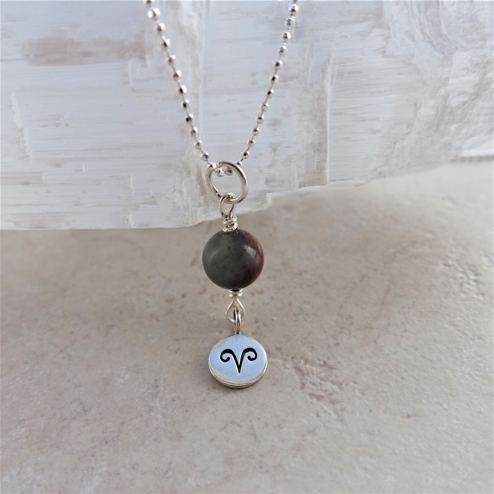 Bloodstone Sterling Silver Aries Zodiac Necklace