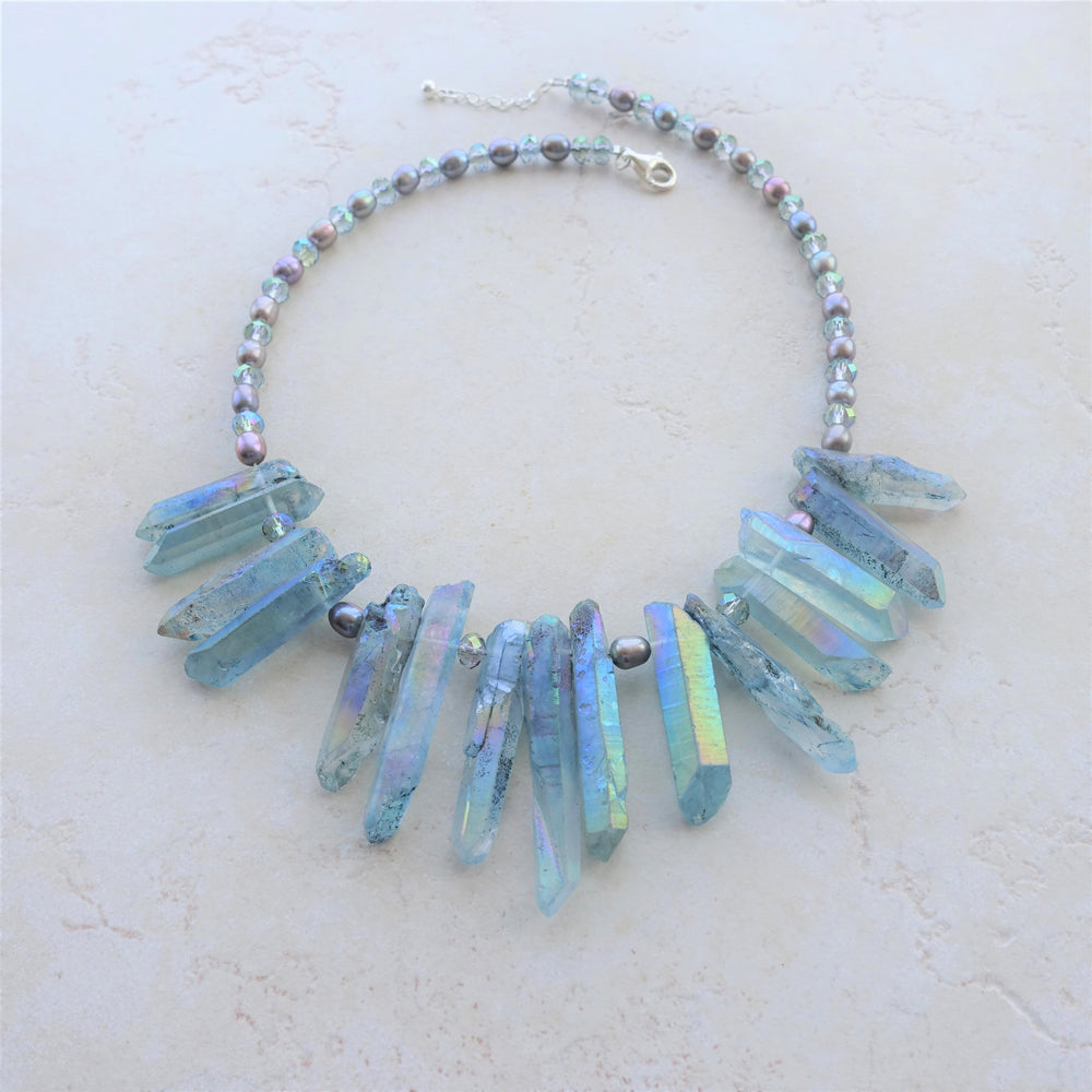 Angel Aura Quartz Crystal Statement Necklace