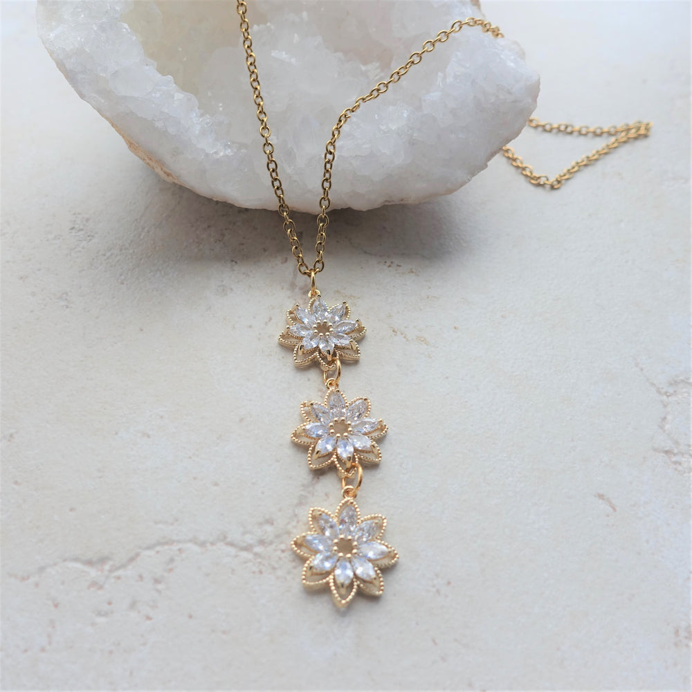 Gold Plated Crystal Sunflower Statement Necklace