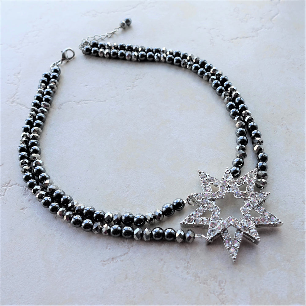 Black Hematite Crystal Star Beaded Necklace