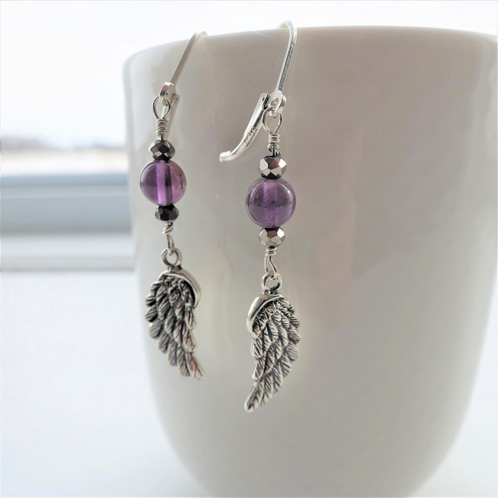 Guardian Angel Wing Amethyst Silver Dangle Earrings