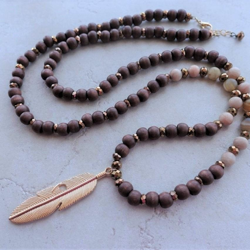 Long Wood Bead Feather Pendant Boho Necklace