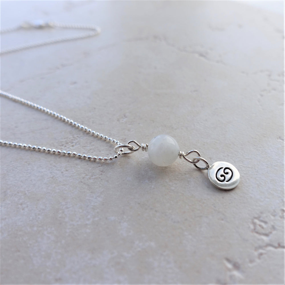 Moonstone Sterling Silver Cancer Zodiac Necklace