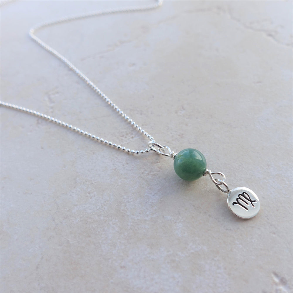 Moss Agate Sterling Silver Virgo Zodiac Necklace