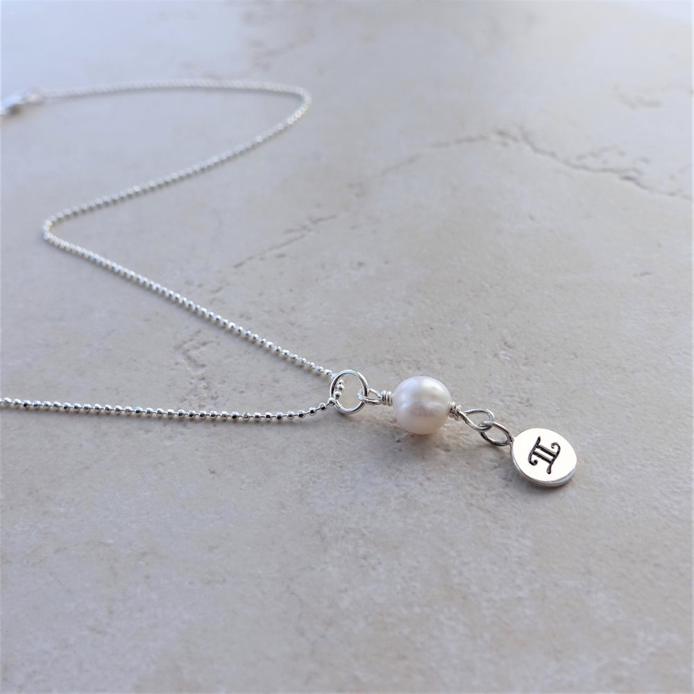 Freshwater Pearl Sterling Silver Gemini Zodiac Necklace
