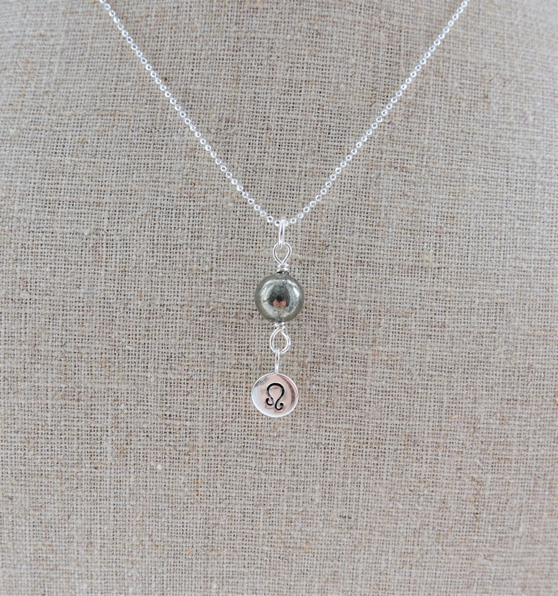 Pyrite Sterling Silver Leo Zodiac Necklace