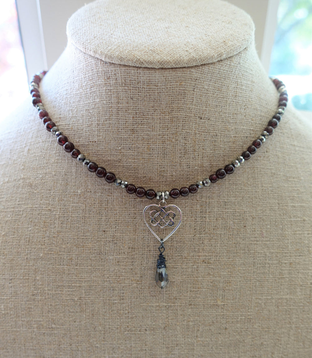 Red Garnet Beaded Heart Necklace - Worn on Charmed