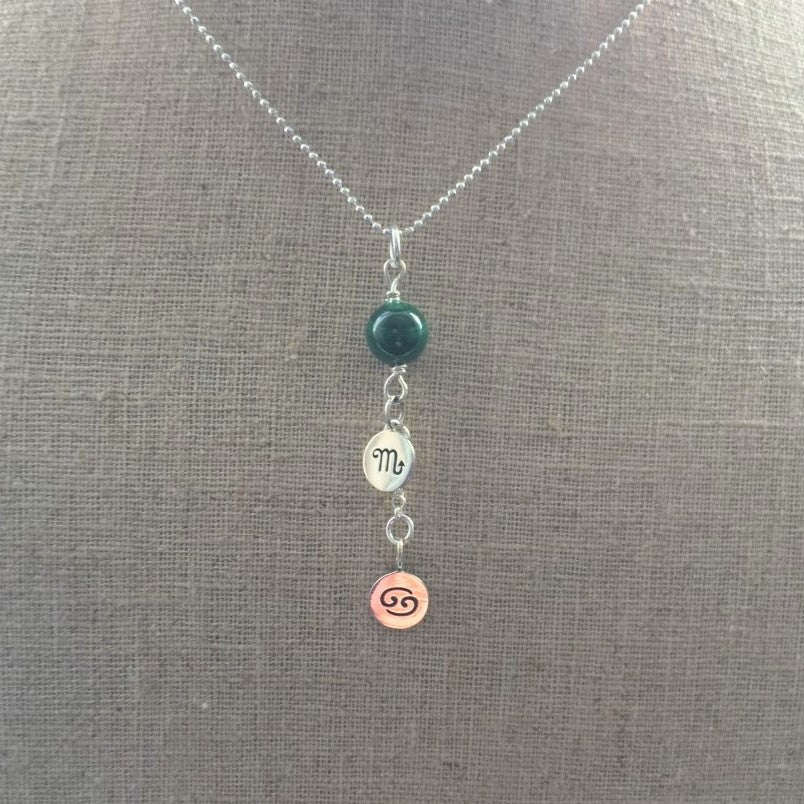 Personalized Two Zodiac Charms Gemstone Necklace