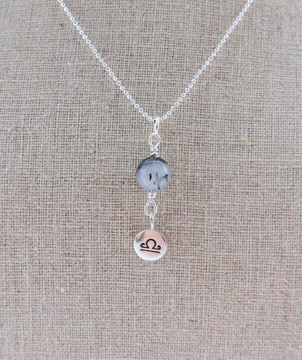 Tourmalinated Quartz Sterling Silver Libra Zodiac Necklace