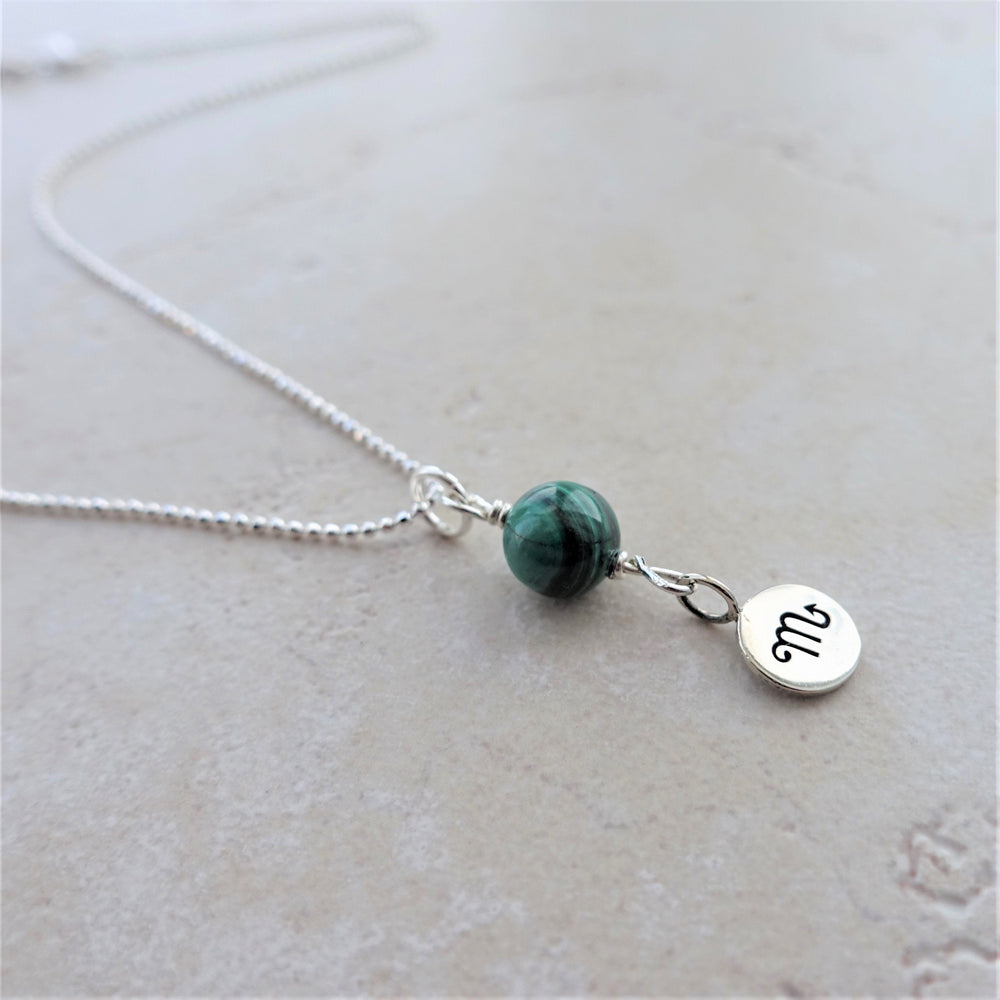 Malachite Sterling Silver Scorpio Zodiac Necklace