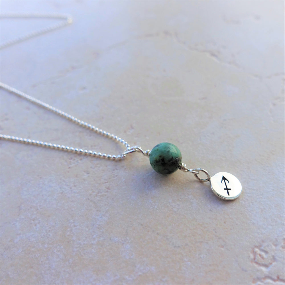 African Turquoise Sterling Silver Sagittarius Zodiac Necklace