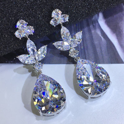Shinning Pear Cut Drop Earrings