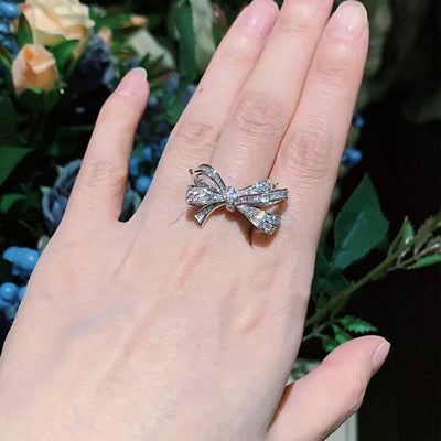 Elegant Bowknot Sterling Silver Cocktail Ring
