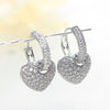 Elegant Heart Sterling Silver Dangle Earrings