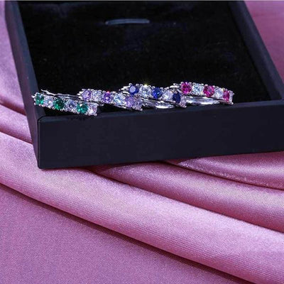 Colorful Zircon Sterling Silver Hoop Earrings