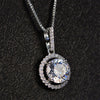 Halo Round Cut Sterling Silver Necklace