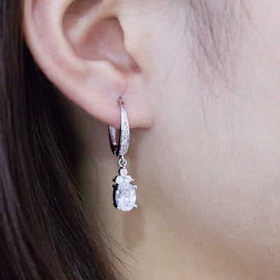 Opal Cut Stone Drop Earrings