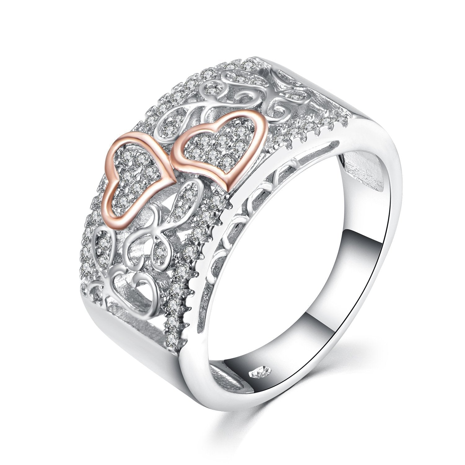 Heart Round Cut Sterling Silver Women's Band Ring